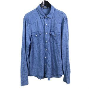 EXPRESS Mens Button Front Shirt Blue Utility Top